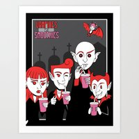 Vampires with smoothies Art Print