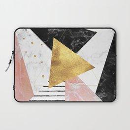 Elegant geometric marble and gold design Laptop Sleeve
