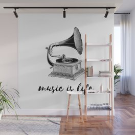 music is life - vintage gramaphone Wall Mural