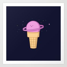 Saturn Cream Cone Art Print