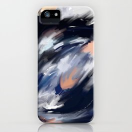 storm's eye - an abstract painting in peach, blue, white and black. iPhone Case