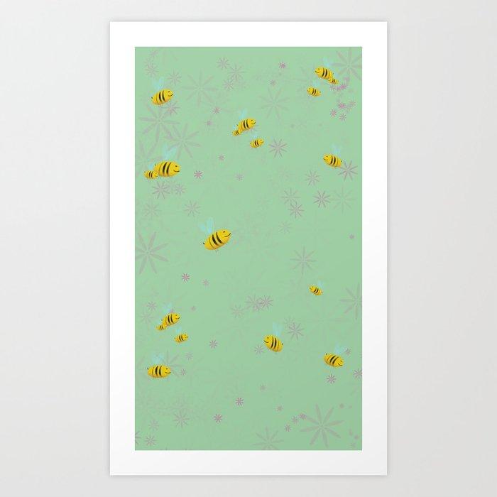 Api e fiori - bees and flowers Art Print by laurartetorino