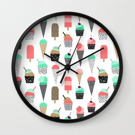 Ice Cream - Summer fresh modern minimal print pattern design gifts for college  Wall Clock
