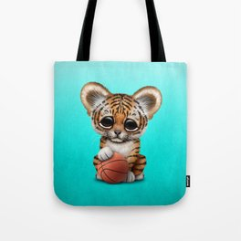 Tiger Cub Playing With Basketball Tote Bag