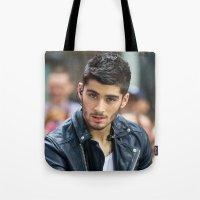 zayn malik Tote Bags featuring Zayn Malik by behindthenoise