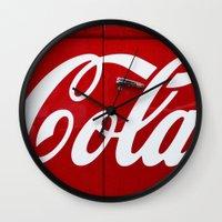 coca cola Wall Clocks featuring Coca Cola  by Lia Bernini