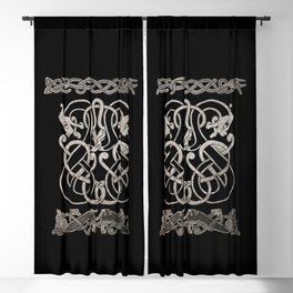 Old norse design - Two Jellinge-style entwined beasts originally carved on a rune stone in Gotland. Blackout Curtain