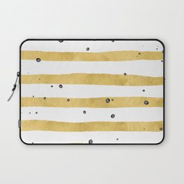 Modern hand painted yellow gold black watercolor splatters stripes Laptop Sleeve