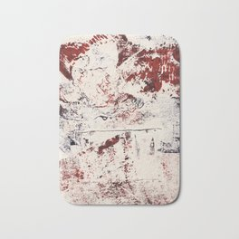 Abstract Red and Blue Expressive Fabric Collage Collagraph Bath Mat