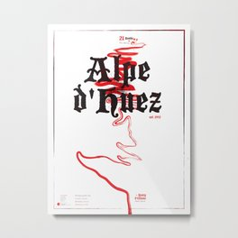 Famous Climbs: Alpe d'Huez 2, Old World Metal Print