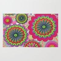 funky Area & Throw Rugs featuring Funky flowers by Shelly Bremmer