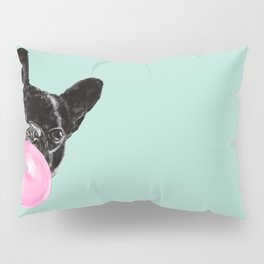 Bubble Gum Sneaky French Bulldog in Green Pillow Sham