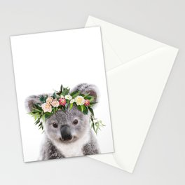 Baby Koala With Flower Crown, Baby Animals Art Print By Synplus Stationery Cards