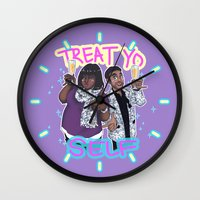 treat yo self Wall Clocks featuring Treat Yo Self by enerjax