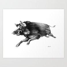 Running Boar Art Print