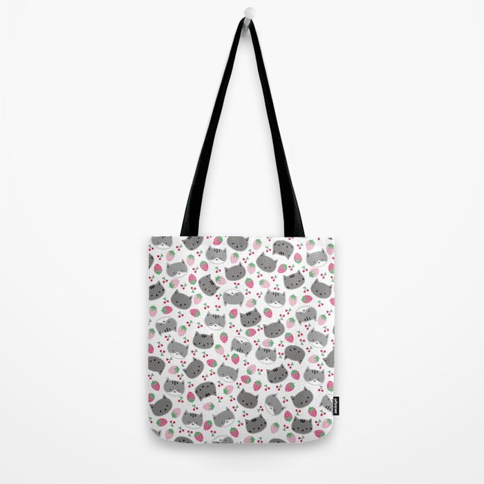 Meow cat love to eats strawberry & cherry Tote Bag
