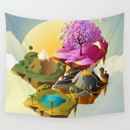 floating islands in the sky Wall Tapestry