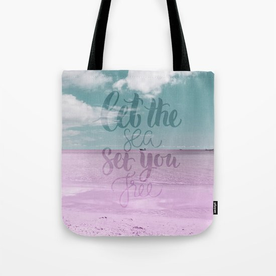 Let the Sea set you Free- Pink Summer Beach Sea Ocean Nature on #Society6 Tote Bag