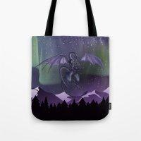 aurora Tote Bags featuring Aurora by Melissa Dekker