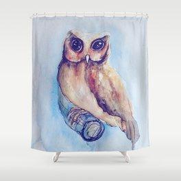 Owl Watercolor II Shower Curtain