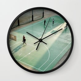 field and basketball players Wall Clock