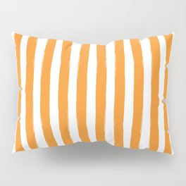 Orange and White Cabana Stripes Palm Beach Preppy Pillow Sham