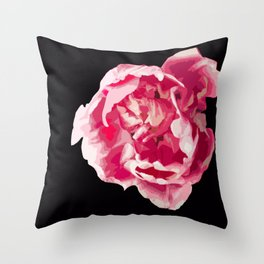 Pink Tulip Flower On A Black Background #decor #society6 #homedecor Throw Pillow