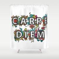 carpe diem Shower Curtains featuring Carpe Diem by Digi Treats 2