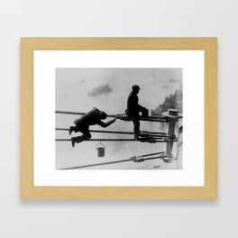 Brooklyn Bridge Painters Vintage Photograph (1915) Framed Art Print