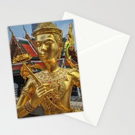 Golden Kinnaris Statue Stationery Cards