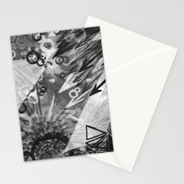Abstract charcoal painting - Black and White Stationery Cards