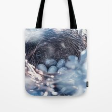Nest of thrush with blue eggs Tote Bag