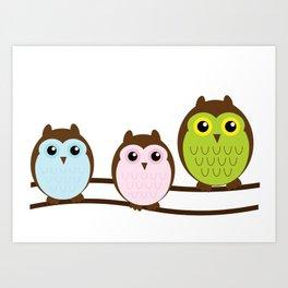 Colorful Owl Birds Cutest Art Print