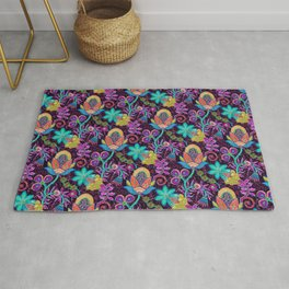 Colorful Glass Beads Look Retro Floral Design Rug