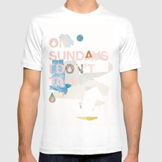 ON SUNDAYS I DON'T TALK White Mens Fitted Tee MEDIUM