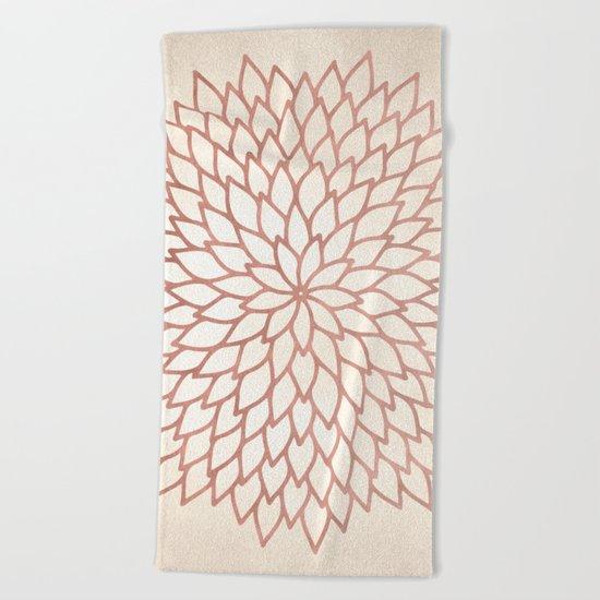 Mandala Flower Rose Gold on Cream Beach Towel