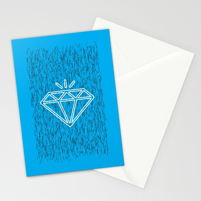 diamond cyan Stationery Cards
