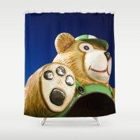 teddy bear Shower Curtains featuring Teddy Bear by Luc Girouard