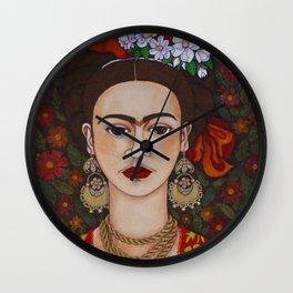 Frida with butterflies Wall Clock