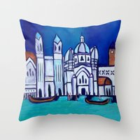 venice Throw Pillows featuring Venice by Theresa Giolzetti