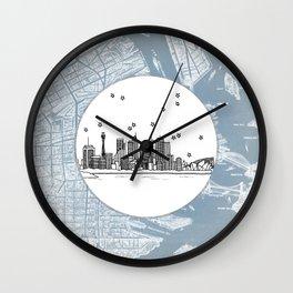 Sydney, New South Wales, Australia City Skyline Illustration Drawing Wall Clock