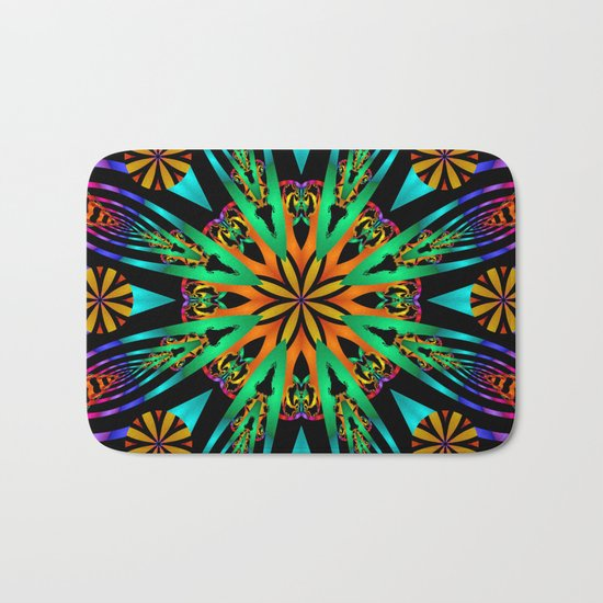 Colourful fantasy flower with tribal patterns Bath Mat