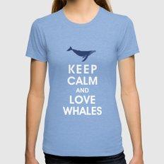 Keep Calm and Love Whales MEDIUM Womens Fitted Tee Tri-Blue