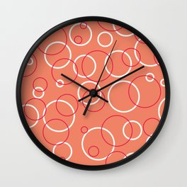 Coral pink bubbles pattern. Wall Clock