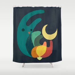 Rabbit and crescent moon Shower Curtain