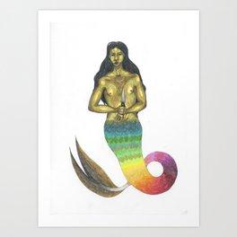 armed mermaid with long hair Art Print