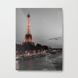 Gold Paris Evening Metal Print