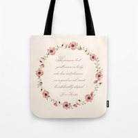 jane austen Tote Bags featuring Jane Austen Quote by Patty Marq