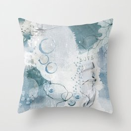 Abstract - Circulating - Richly Textured Design in Aqua Blue and Teal Throw Pillow