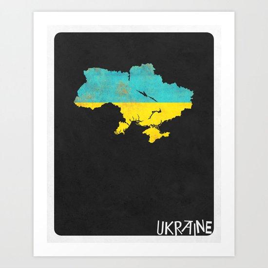 Ukraine Minimalist Vintage Map with Flag Art Print